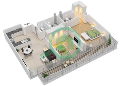 المخططات الطابقية لتصميم النموذج 1 شقة 2 غرفة نوم - عزيزي أورا