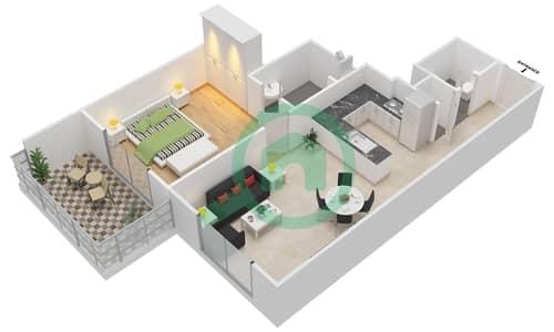 المخططات الطابقية لتصميم النموذج 5 شقة 1 غرفة نوم - عزيزي أورا