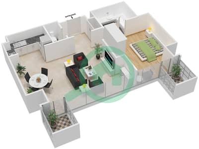Maze Tower - 1 Bed Apartments unit 2,6 Floor plan