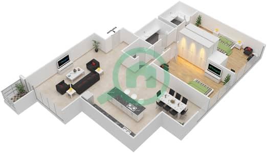 Maze Tower - 2 Beds Apartments unit 4 Floor plan