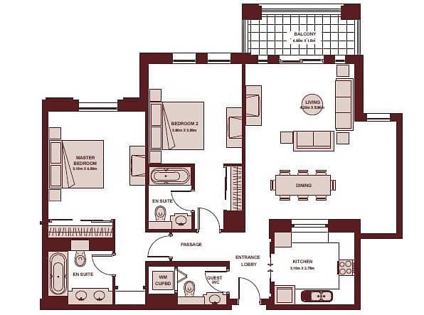 10 2 Bedrooms | Vacant | Close to Dubai Mall