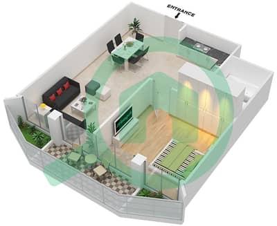 المخططات الطابقية لتصميم النموذج / الوحدة F01/1,5,9,13 شقة 1 غرفة نوم - ريتز ريزيدنس