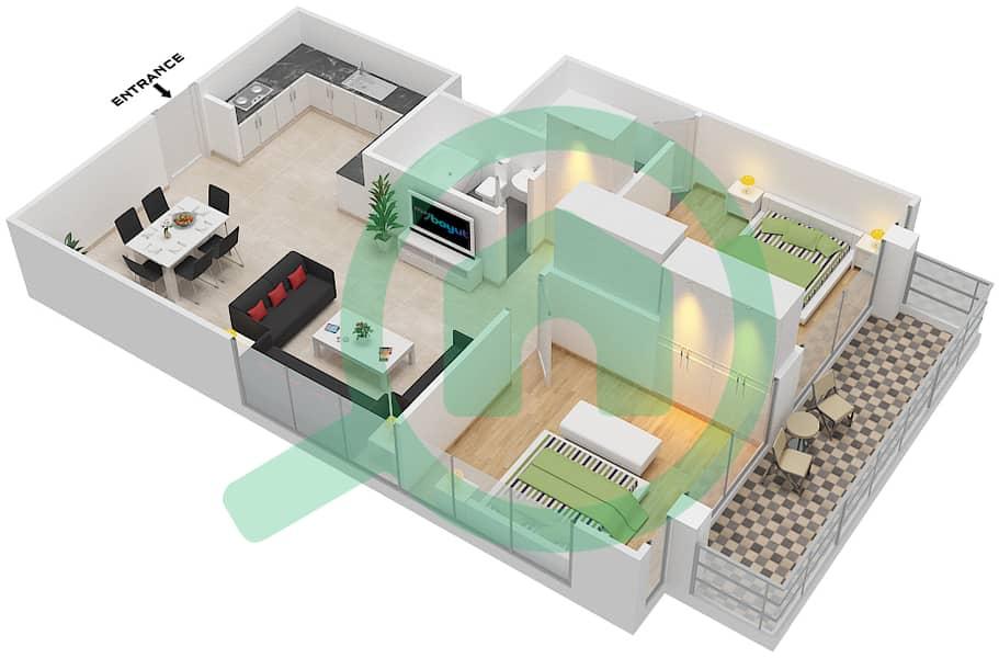 المخططات الطابقية لتصميم النموذج / الوحدة T04/14,15 شقة 2 غرفة نوم - ريتز ريزيدنس image3D