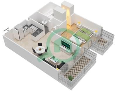 المخططات الطابقية لتصميم النموذج 3B شقة 1 غرفة نوم - عزيزي جراند