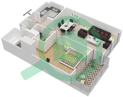 Axis Silver 1 - 1 Bed Apartments type/unit H/8 Floor plan