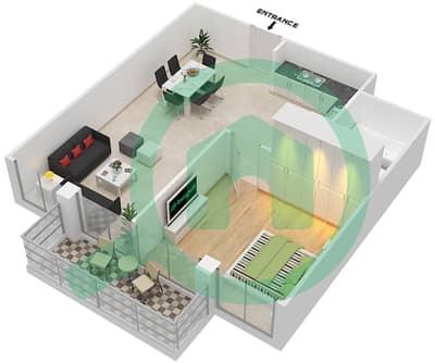 المخططات الطابقية لتصميم النموذج / الوحدة T01/1,5,9,13 شقة 1 غرفة نوم - ريتز ريزيدنس