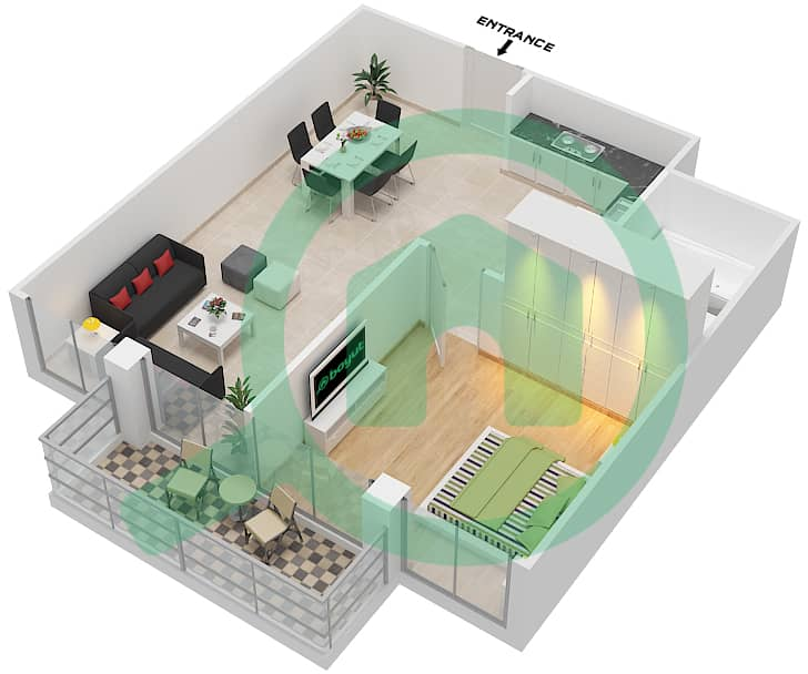 المخططات الطابقية لتصميم النموذج / الوحدة T01/1,5,9,13 شقة 1 غرفة نوم - ريتز ريزيدنس image3D