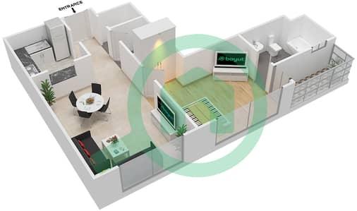المخططات الطابقية لتصميم النموذج / الوحدة 01/101 شقة 1 غرفة نوم - ميكاسا افينيو