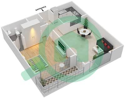 المخططات الطابقية لتصميم النموذج / الوحدة 02/109 شقة 1 غرفة نوم - ميكاسا افينيو