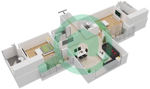 المخططات الطابقية لتصميم النموذج / الوحدة 01/103 شقة 2 غرفة نوم - ميكاسا افينيو