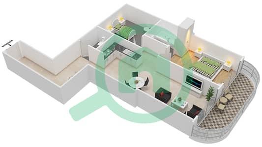 المخططات الطابقية لتصميم النموذج B1 شقة 1 غرفة نوم - برج روز