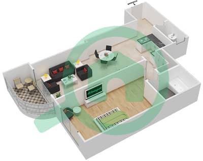 المخططات الطابقية لتصميم النموذج B2 شقة 1 غرفة نوم - برج روز