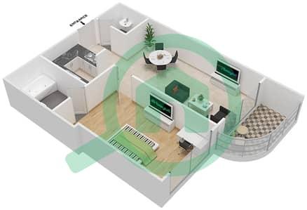 المخططات الطابقية لتصميم النموذج B3 شقة 1 غرفة نوم - برج روز