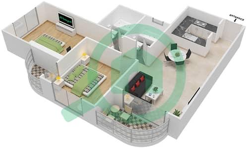 المخططات الطابقية لتصميم النموذج A2 شقة 2 غرفة نوم - برج روز