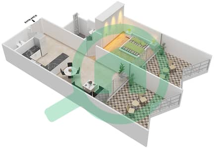 Binghatti Stars - 1 Bed Apartments type B Floor plan