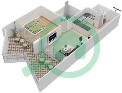 Binghatti Stars - 1 Bed Apartments type E Floor plan