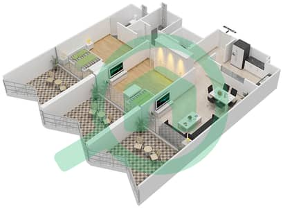 Binghatti Stars - 2 Beds Apartments type F Floor plan