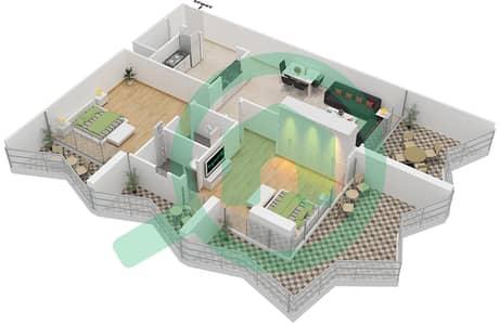 Binghatti Stars - 2 Beds Apartments type G Floor plan