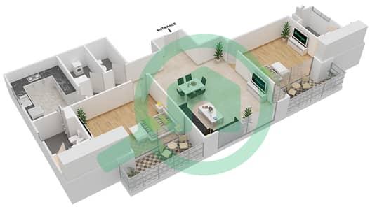 المخططات الطابقية لتصميم النموذج / الوحدة 02/108 شقة 2 غرفة نوم - ميكاسا افينيو