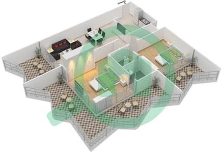 Binghatti Stars - 2 Beds Apartments type D Floor plan