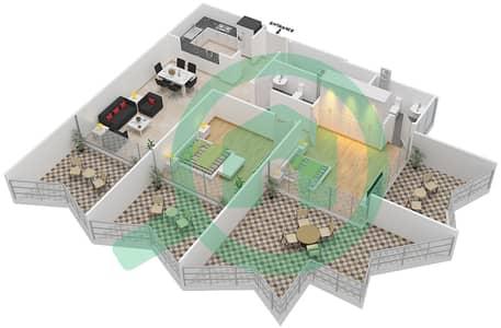 Binghatti Stars - 2 Beds Apartments type C Floor plan