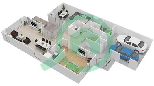 المخططات الطابقية لتصميم النموذج B تاون هاوس 4 غرف نوم - السلام