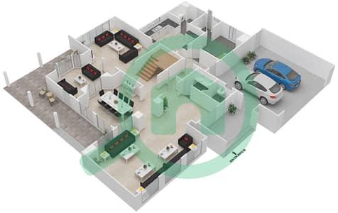 المخططات الطابقية لتصميم النموذج C فیلا 6 غرف نوم - قرية خالدية