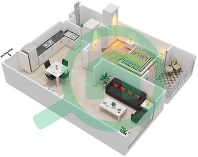المخططات الطابقية لتصميم النموذج 1 شقة 1 غرفة نوم - لونز من دانوب