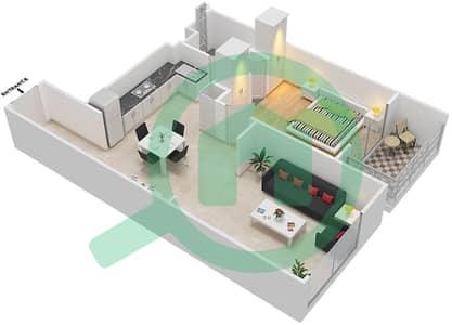 المخططات الطابقية لتصميم النموذج 2 شقة 1 غرفة نوم - لونز من دانوب