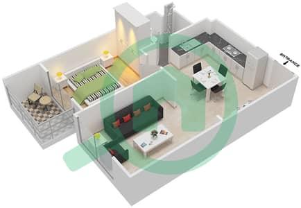 المخططات الطابقية لتصميم النموذج 2A شقة 1 غرفة نوم - لونز من دانوب