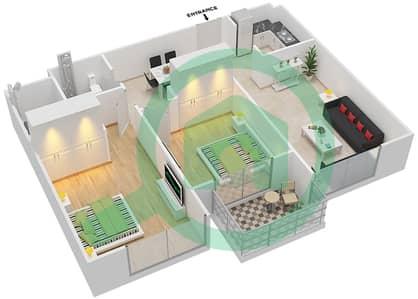 المخططات الطابقية لتصميم النموذج 1 شقة 2 غرفة نوم - لونز من دانوب
