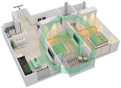 المخططات الطابقية لتصميم النموذج 2 شقة 2 غرفة نوم - لونز من دانوب