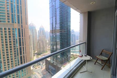 شقة 1 غرفة نوم للايجار في دبي مارينا، دبي - Partial Marina View
