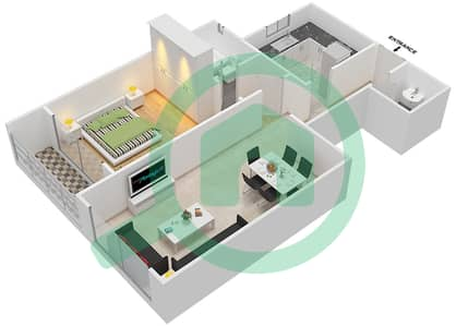 المخططات الطابقية لتصميم النموذج A شقة 1 غرفة نوم - برج ستايل