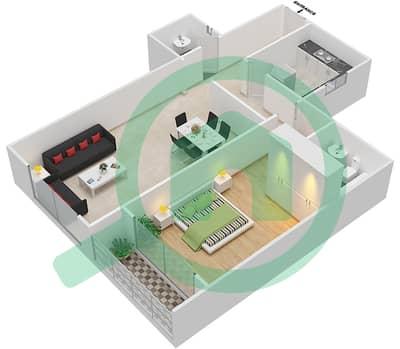 المخططات الطابقية لتصميم النموذج B شقة 1 غرفة نوم - برج ستايل