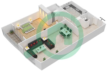 المخططات الطابقية لتصميم النموذج C شقة 1 غرفة نوم - برج ستايل