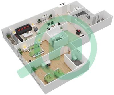 المخططات الطابقية لتصميم النموذج E شقة 2 غرفة نوم - برج ستايل