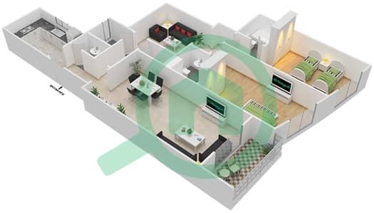 المخططات الطابقية لتصميم النموذج G شقة 2 غرفة نوم - برج ستايل