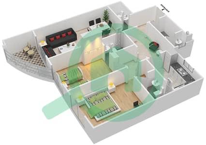 المخططات الطابقية لتصميم النموذج F شقة 2 غرفة نوم - برج ستايل