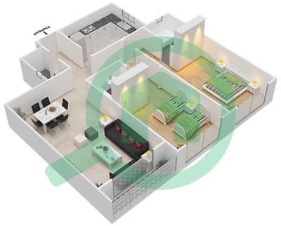 المخططات الطابقية لتصميم النموذج H شقة 2 غرفة نوم - برج ستايل