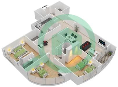 المخططات الطابقية لتصميم النموذج I شقة 3 غرف نوم - برج ستايل