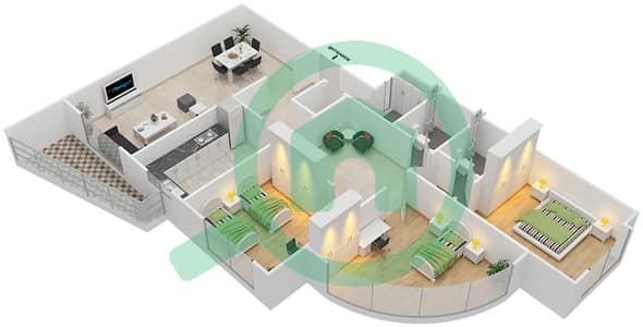 المخططات الطابقية لتصميم النموذج J شقة 3 غرف نوم - برج ستايل