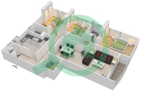 المخططات الطابقية لتصميم النموذج K شقة 3 غرف نوم - برج ستايل