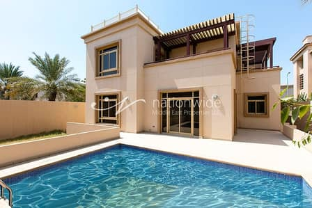 5 Bedroom Villa for Rent in Al Raha Golf Gardens, Abu Dhabi - Vacant 5BR Villa with Big Balcony + Pool