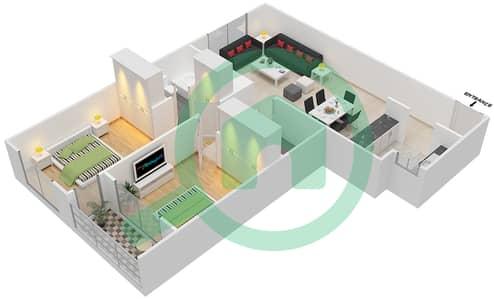 المخططات الطابقية لتصميم النموذج / الوحدة A/1 شقة 2 غرفة نوم - أبراج أحلام جولدكريست