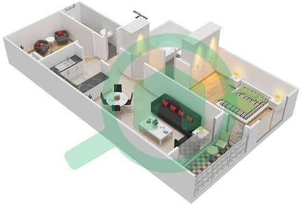 المخططات الطابقية لتصميم النموذج / الوحدة D/2 شقة 1 غرفة نوم - أبراج أحلام جولدكريست