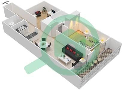 المخططات الطابقية لتصميم النموذج / الوحدة E/3 شقة 1 غرفة نوم - أبراج أحلام جولدكريست