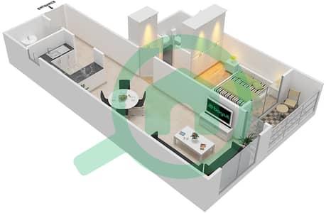 المخططات الطابقية لتصميم النموذج / الوحدة B/6 شقة 1 غرفة نوم - أبراج أحلام جولدكريست