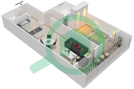المخططات الطابقية لتصميم النموذج / الوحدة C/7 شقة 1 غرفة نوم - أبراج أحلام جولدكريست