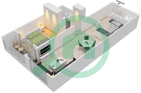 المخططات الطابقية لتصميم النموذج / الوحدة B/C شقة 1 غرفة نوم - أبراج أحلام جولدكريست